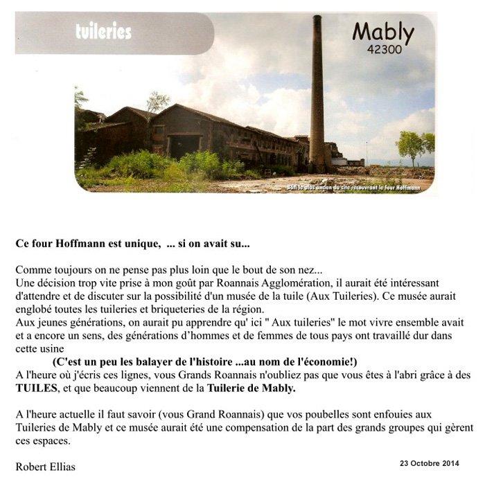 Tuilerie four hoffmann lettre 23 10 2014