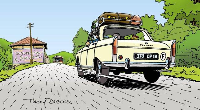 Une Peugeot 404 au Col du Pin Bouchain  Limite entre la Loire et le Rhône point culminant de la Nationale 7  760 mètres.