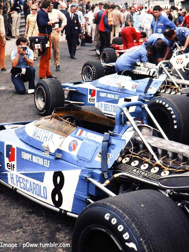 1970, XXIII RAC British Grand Prix. Brands Hatch. Pits. Pescarolo and Beltoise's Matra MS120