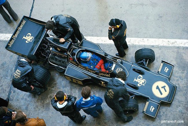 Lotus driver Ronnie Peterson in the pits during wet practice session