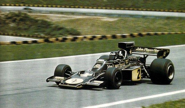 Lotus 72 au GP du Brésil en 1974, Jacky Ickx au volant.