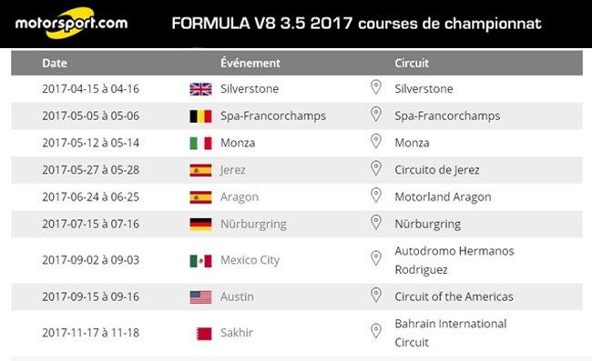 calendrier Formula 3,5